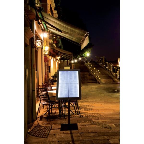 Black star porte menu ext rieur avec clairage led for Porte menu restaurant exterieur
