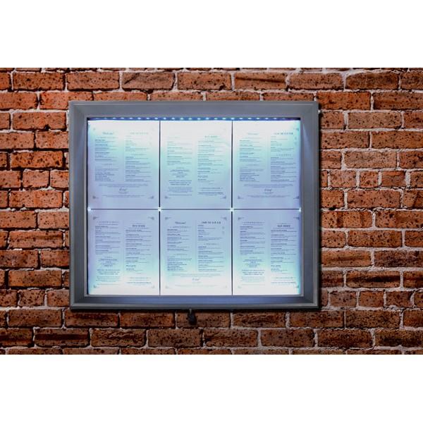 porte menu mural eclairage led affichage 6 feuilles a4. Black Bedroom Furniture Sets. Home Design Ideas