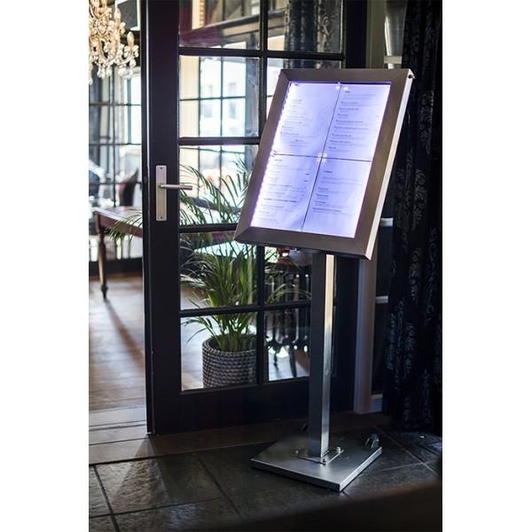 Porte menu en inox bross avec clairage led pour for Porte menu exterieur occasion
