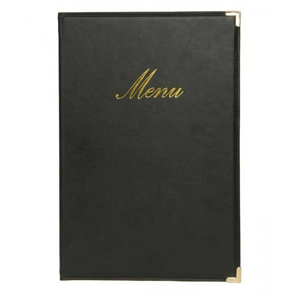 prot ge menus restaurant a4 simili cuir noir capacit 10 menus a4. Black Bedroom Furniture Sets. Home Design Ideas