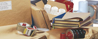 Sac papier, lien et sachet plastique, papier kraft